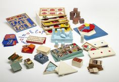 Teaching materials conceived and commissioned by Maria Montessori, 1925. Painted wood and various materials.