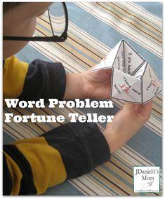 (Free Printable) Cool Math Games- Word Problem Fortune Teller #mathgame #fortuneteller #cootiecatcher