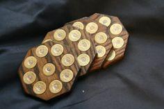 Oak shotgun shell coasters with real shotgun shells -Dark oak color Shotgun Shell Art, Shotgun Shell Crafts, Shotgun Shells, Bullet Casing Crafts, Bullet Crafts, Bullet Art, Bullet Shell, Ammo Crafts, Wood Crafts