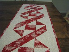 Quilted Christmas Table Runner Extra Long Red by ChokeCherryHill