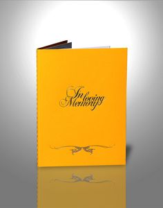 This is our El' D'cari Yellow Order Of Service Booklet. Vibrant, we have nicknamed it Romayne Yellow. It is one of our most popular choices. Visit www.memoriesbydd.com for a more detailed description. From £260 Order Of Service, Booklet, Choices, Vibrant, Product Description, Popular, Yellow, Most Popular, Folk