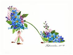 Shoe Print  Breast Cancer Awareness Flower by brownleeartstudio, $10.00