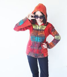 Hippie  Slashed  Hoodie - Pixie - Hippie - Men - Women - Ripped - Cotton  - Stone Washed - Nepal Style