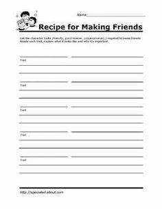 Printables Social Skills Worksheets For Middle School Students worksheets you can print to build social skills determination recipe for making friends