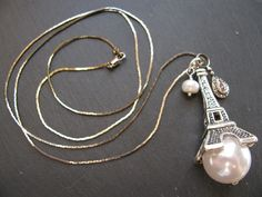 """New 30"""" Silvertone Eiffel Tower Paris Long Necklace w/ Pearl & Crystal Dangles 