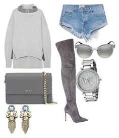 A fashion look from August 2017 featuring Jil Sander, denim shorts and thigh-high suede boots. Browse and shop related looks. Jil Sander, Suede Boots, Bling Jewelry, Thigh Highs, Versace, Denim Shorts, Fashion Looks, Michael Kors, Polyvore