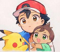 Ash Pokemon, Pikachu, Pokemon Waifu, Pokemon Ash And Serena, Black Pokemon, Pokemon Comics, Pokemon Fan Art, Cute Pokemon, Kawaii Chibi