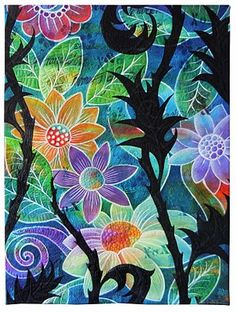 """Black and Bloom All Over  Judy Coates Perez  2011  36"""" x 48"""".   Whole cloth paintedcotton sheeting withDaler Rowney FW Acrylic inks, textile paints, hand carved stamps, stencils with shiva paint stiks, printed tea bags adhered with gel medium, free motion quilted"""