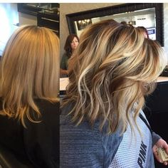 Avant-Apres : Blonde Balayage highlights darkened roots with painted on highlights and lowlig