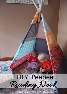 DIY tutorial for this awesome teepee reading space. Works indoors and outside, AWESOME!