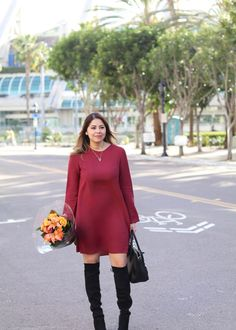 What I wore for my birthday brunch in downtown San Diego. A burgundy dress with over the knee boots.
