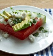 See a recipe for Watermelon Salad with Vidalia-Onion Vinaigrette and Avocado from Ashley Christensen, Poole's Diner, Raleigh, NC