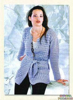 Жакет с рельефными ромбами.Крючком - Жакет.Пуловеры.Свитер - Страна рукоделия