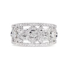 Vera Wang Love Diamond Anniversary Band (4,055 CAD) ❤ liked on Polyvore featuring jewelry, rings, white, 18k ring, wide-band rings, vera wang rings, diamond band ring and white ring