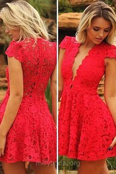 Sexy Homecoming Dresses,Short Cocktail Dresses, Red Party Gowns,Lace Ruffles with Cap Straps Grad Dress,V-neck Prom Dresses