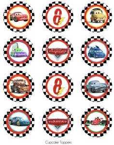 Cars 2 Cupcake Topper  decorazioni festa Cars 2 by worldwideparty, $7.00