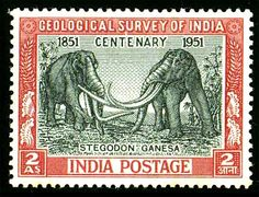 1st Stamp worldwide with fossil Elephants printed on it. India 1951