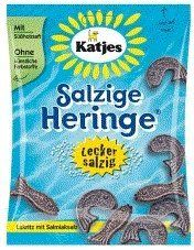 """Katjes Salzige Heringe """"Salty Hering / Fish"""" Fresh, with a proper amount of salmiak-salt, this tasty salty soft licorice herring were caught by Katjes. As a serious black licorice connoisseur, I can say that these are the real deal if you want authentic, Dutch licorice. They actually contain licorice extract, and aren't flavored with anise or artificial flavorings like a lot of lesser brands use, so you get a really strong licorice taste out of these little fish!"""