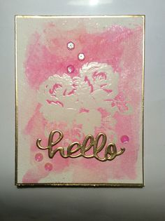 """Created a card while learning from the Online Card Classes, """"heatwave"""" class. Used an emboss resist technique with a watercolor background. Still need much more practice, but the learning process is fun :)"""