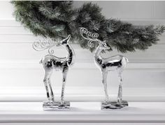 Silver Dancer Reindeer Statue traditional-holiday-accents-and-figurines