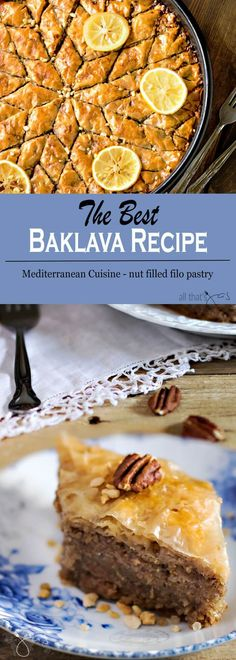Baklava is a popular dessert in Mediterranean, Middle Eastern, and Balkan cuisine made of layers of filo dough pastry sheets, ground nuts and held together with syrup.