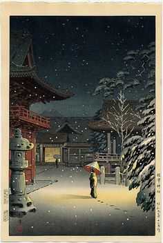 "Japanese Art Print ""Snow at Nezu Shrine (Woman in Snow)"" by Tsuchiya Koitsu, woodblock print reproduction, asian art, cultural art, snowfall Yakuza Style Tattoo, Japanese Woodcut, Art Asiatique, Art Japonais, Japanese Painting, Art Graphique, Japanese Prints, Japan Art, Animes Wallpapers"