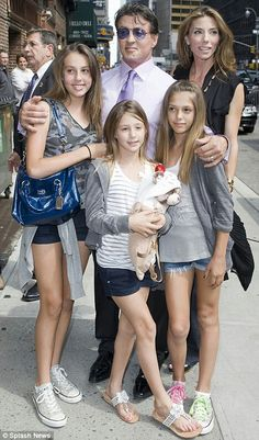 Sly Stallone wife Jennifer Flavin and their daughter's Sophia, Sistine and Scarlett Beautiful Family Famous Celebrities, Hollywood Celebrities, Beautiful Celebrities, Celebs, Celebrity Stars, Celebrity Babies, Celebrity Couples, Stallone Rocky, Sons