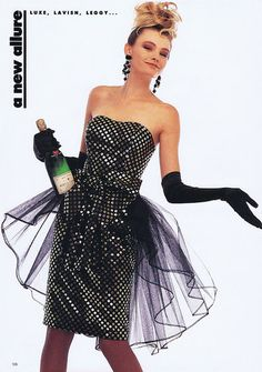 'Luxe, Lavish, Leggy: A New Allure' from………Fashion Quarterly Summer 1987 feat Penny Holst 1980s Fashion Trends, 80s And 90s Fashion, 1980s Dresses, Prom Dresses, 80s Prom Dress Costume, 80s Party Outfits, Vintage Prom, Dress Up, Fancy Dress