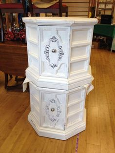Two vintage chalk painted octagon side tables by Beadle Bug Vintage shabby chic, distressed, crisp!