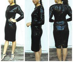 Vintage Sequined black dress From Oleg by GenesisVintageShop