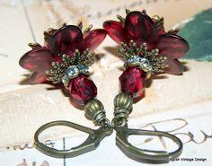 Lucite Earrings, Flower Earrings, Victorian Earrings, Boho Earrings, Drop Earrings, Cranberry Red Earrings, Brass, Hand Painted Earrings