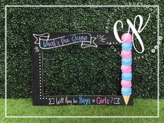 Gender reveal photo booth frame | What's the scoop photo booth prop | Boy or girl photo prop | Prega