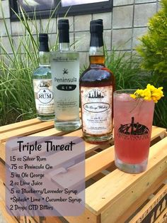 The perfect trio of Pure Michigan spirits is the base for our after work indulgence, the Triple Threat! Made with Silver Reserve Rum, Peninsula Gin,. Alcoholic Drinks, Cocktails, Lime Juice, Distillery, Gin, Cucumber, Blueberry, Pure Products, Bottle