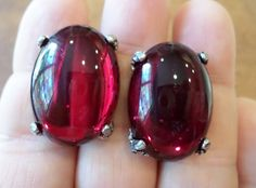 Vintage Silver Tone, Huge Foiled Red Glass Cabochons Screw Back Earrings. by…
