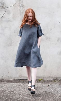 306a3255313 Long sleeve pocketed women s linen dress with open back by d96p Linen  Dresses