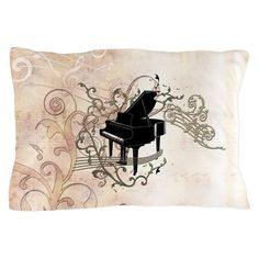Music, piano with key notes and clef Pillow Case by nicky - CafePress Piano Music, Color Combinations, Pillow Cases, Notes, Tapestry, Pillows, Party, Fun, Design