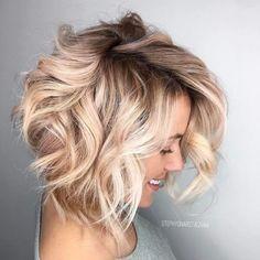 25 blonde balayage short hair looks you'll love beauty - hai Messy Bob Hairstyles, Long Face Hairstyles, Chic Hairstyles, Hairstyle Ideas, Makeup Hairstyle, Wavy Bob Haircuts, Blonde Hairstyles, Curled Bob Hairstyle, Bob Updo