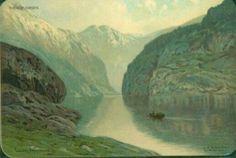 Kunstnerkort Ludvig Ramstad Nærøfjorden tidlig 1900-tall Utg J.F.