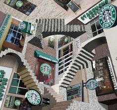 Starbucks Relativity Optical Illusion - http://www.moillusions.com/starbucks-relativity-optical-illusion/