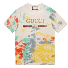 Gucci Gucci Print Cotton T-Shirt ($410) ❤ liked on Polyvore featuring cotton, ready-to-wear, sweatshirts & t-shirts, women, cotton shirts, gucci shirt, pink shirt, tie-dye shirts and tie dye t shirts