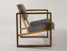 Josef Albers, Club Chair from Oeser's Home, 1928. Mahogany veneer, beech wood, maple, with flat cushions. Bauhaus Archiv Berlin, PhotoBarsch © VG Bild-Kunst, Bonn, Germany