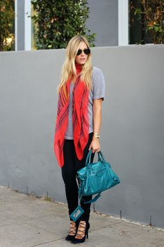 Dig those pops of color, not necessarily the style. Sans the shoes- would rather something more simple