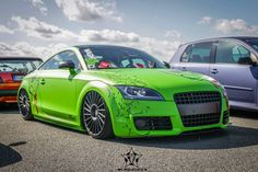 #Audi #TT RS #Modified #Lime Green #Slammed #Stance #Show Car #Custom Vinyl