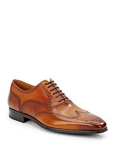 Magnanni for Saks Fifth Avenue - Burnished Calfskin Leather Wingtip Shoes Me Too Shoes, Men's Shoes, Dress Shoes, Mens Wingtip Shoes, Discount Designer Handbags, Oxford Shoes, Mens Fashion, Boots, Leather