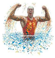 A fractal mosaic portrait of the Brazilian professional swimmer and world recordman Cesar Cielo for Gatorade Evoluciona advertising campaign. Charis Tsevis