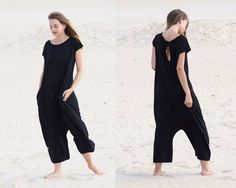 Oversized jumpsuit / Loose jumpsuit / Black jumpsuit / Women's loose overalls