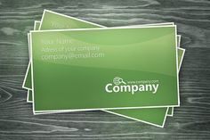 Simple and elegant free green business cards design, available for download as Adobe Photoshop file.