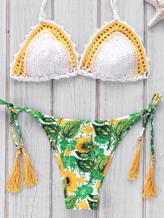 Printed Crocheted Bikini Set WHITE: Bikinis | ZAFUL | http://www.zaful.com/printed-crocheted-bikini-set-p_181969.html