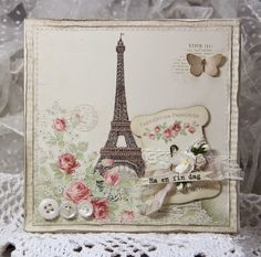 A card made from beautiful new Paris Flea Market.Have a nice day,Anne KristinePion products:Paris Flea Market - By the Eiffel Tower Flea Market - Rose du jardin Flea Market - Postcards Flea Market - Tags Paris Cards, Paris Flea Markets, Shabby Chic Cards, Cardmaking And Papercraft, Travel Cards, Paris Theme, Card Tags, Booth Displays, Retail Displays