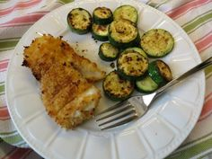 Cooking Light Crispy Fish with Lemon Dill Sauce :: Didn't make the sauce but the breading and the method worked great on the frozen Hake Loins from Costco paired with fresh zucchini in Coconut Oil.